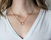 Twisted Rose Gold Ring Eternity Necklace Gold Circle Pendant Everyday Necklace Gift - Karma