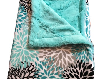 Adult Minky Blanket, Personalized Blanket, Teal Minky Blanket, Floral Minky Blanket, Teal Minky Blanket, Minky Adult Size Throw 50 x 60 inch
