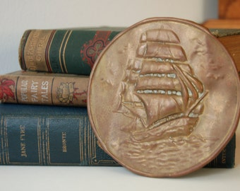 Vintage English Ship Barque Wall Medallion Copper Embossed