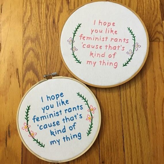 Feminist Rants Hoop Art | Feminist Gift Guide