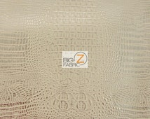 Metallic African Crocodile Embossed Vinyl Fabric - PEACH/GOLD - Sold By The Yard Upholstery 2 Tone Faux Fake Leather
