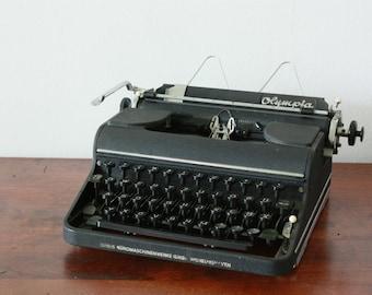 Olympia SM 2 Black Typewriter - Working Portable Vintage Typewriter - Industrial Design - Industrial home decor