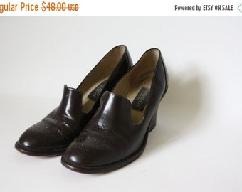 Sale Vintage Kenneth Cole / Kenneth Cole Oxfords / Stacked Heel Oxfords / Brown Leather Oxfords / 1970s High Heel Oxfords 7