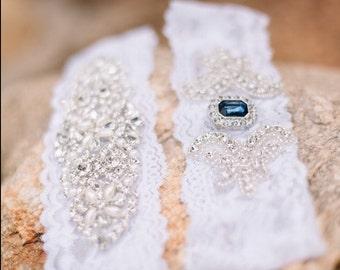 CUSTOMIZE Your Garter - Bridal Garter, Wedding Garter Set, Stretch Lace Garter, Rhinestone Crystal Bridal Garter, Something Blue, Prom