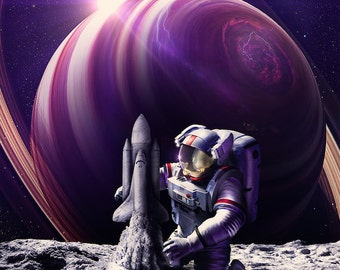 Space Astronaut Sandcastle Poster