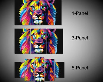 Framed Colourful Lion Head Wall Canvas Art - Ready to Hang