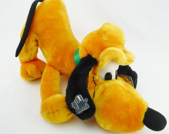 Vintage 80s Walt Disney Pluto dog plush toy stuffed animal by Applause tags attached