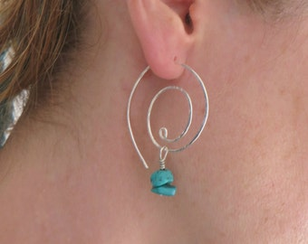 Turquoise Beaded Hoops, Sterling Silver Swirl Hoop Earrings, Large Spiral Hoops, Women's Jewellery, Coil, Swirl