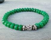 Emerald bracelet Lotus bracelet Green jade bracelet & Sterling Silver lotus bud bead Wrist mala beads Yoga meditation bracelet Zen bracelet