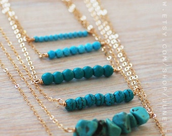 Turquoise necklace, turquoise bar necklace, bridesmaid necklace, bridesmaid gift, gift for her, turquoise and gold, gold necklace, weddings