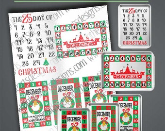 Avent Calenders - 3 Pack Design - Christmas Countdown Calenders SVG, dxf, png, eps,  Great for Baking Trays, Frames and More