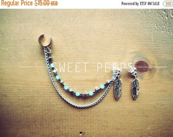 Valentines Sale Silver Feather Ear Cuff Set with a string of Beautiful Light Blue Crystals