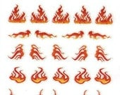 Flame Scrapbooking Stickers/ Nail Decals