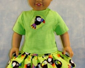 18 Inch Doll Clothes - Lime Green Toucan Outfit handmade by Jane Ellen to fit 18 inch dolls