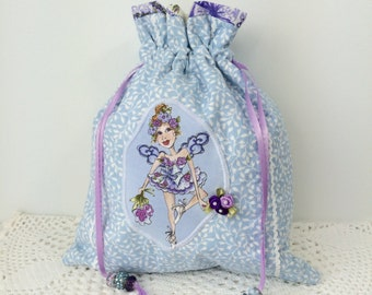 Garden Diva Fairy - Lavender Lilly - Drawstring Bag - Cotton Quilted Drawstring Bag - Accessories Bag - Lingerie Bag - Jewelry Bag