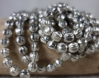6mm Antique Silver Melon Bead, Antique Silver 6mm Melon Bead, 25 Beads, 2985, Silver Melon Beads