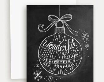 Christmas Card - Holiday Greeting Card - Christmas Chalkboard Card- Chalk Art Card - Black and White Christmas Card