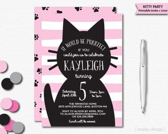 Kitty Invitation Cat Invitation Kitten Invitation Kitty Birthday Invitation Printable Cat Birthday Party Choose Your Color Birthday Invite