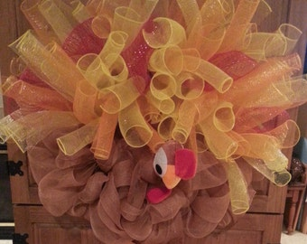 Thanksgiving Turkey Mesh Wreath