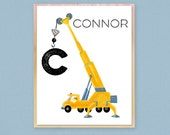 """Personalized Kids Construction Crane Art Wooden Plaque 11""""x14"""" Child's Name Young Boys Room Decor Playroom Art Fun Colorful Gift For Toddler"""