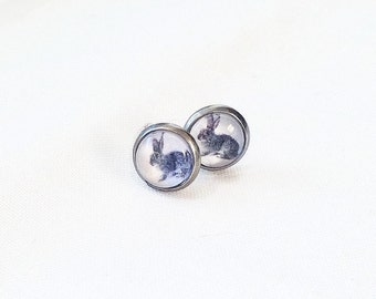 CHILD no pierced ears, rabbits, gray blue and white, 8 mm clip a cabochon earrings, mini studs, in Quebec, delicate