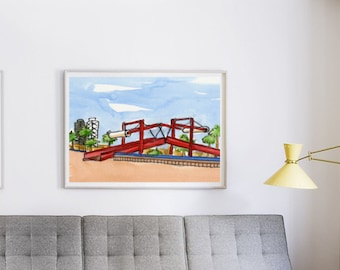Barcelona Port Vell watercolor - large format wall decor - Barcelona harbour red bridge digital print - instant download