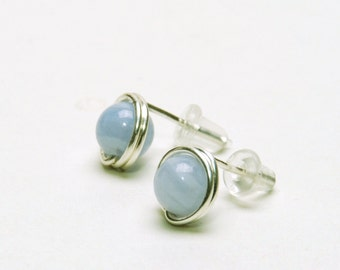 Blue Lace Agate Stud Earrings - Handmade Wire Wrapped, Fine (99%) Silver, Light Blue Gemstone Studs - Natural Stone Earrings