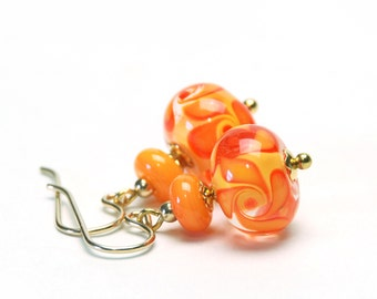 Apricot Orange and Yellow Lampwork Earrings - Artisan Lampwork Glass Earrings with Gold Filled Earwires - Handmade Jewelry