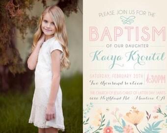 FIRST COMMUNION BAPTISM lds baptism invitation photo