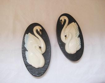 Swan plaques, ceramic plaques, bathroom decor, chalkware wall decor, 1965 Miller Studio