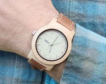NEW Real WOOD Minimalist Watch - Made from Maple Wood and Dark Leather Calfskin Strap - KNTY-L
