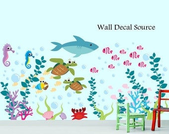 Underwater Wall Decals - Aquarium Wall Art - Underwater Sea Creatures Decals - Bathroom Wall Decals - Ocean Decals - Baby Room Wall Decals