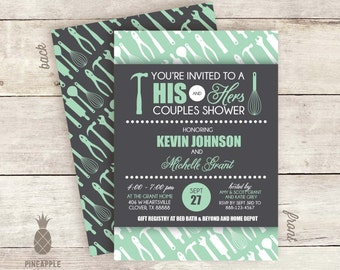 His & Hers Couples Shower Invitations - Colors Used: Charcoal and Mint