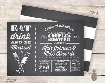 Chalkboard Inspired Eat Drink & Be Married Couples Shower Invitations