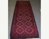 SPRING SALE Persian Rug - 1970s Hand-Knotted Balouch Persian Rug Runner (2917)