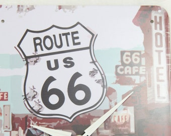Route 66 License Plate Wall Clock, Geekery, Silver Black and White, Clocks by DanO, Graduation Gift, Father's Day Gift Ideas, Home Decor