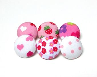 Fabric Buttons - 6 Medium Buttons - Pink Kawaii Fabric Covered Buttons - Flower Sew Buttons - Floral Sewing Buttons - Pink Mix Buttons