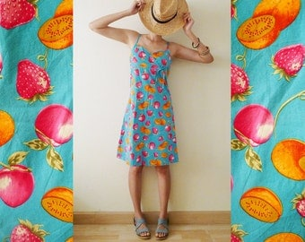 VTG bright blue FRUITY spaghetti strap mini dress,baby doll,Hawaiian,Aloha, sun dress,summer,strawberries kiwis and apples printed,boho, S-M