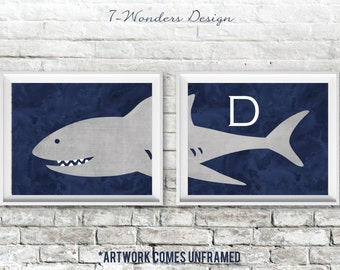 Boys Shark Art Prints Monogram Set of (2) 5x7, 8x10 or 11x14 // Watercolor Navy Blue and Gray // Nursery Bedroom Decor - Unframed