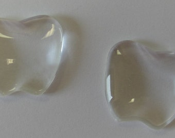 20 - Clear 1 inch aprox. apple shape Glass Domes, cabochon 25mm - 1'' apple, inchie