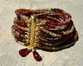 Gemstone Bracelet, Multi Strand Gemstone Bracelet, Tunduru Sapphire, Sapphire Bracelet, Sapphire Jewelry, Multistrand Bracelet