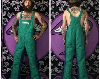 Vintage Green Adult Snow Suit. Retro 80s Ski Suit By Beconta. Mens Or Womens Retro Green Full Body Winter Coverall Overalls.Retro 70s Skiing