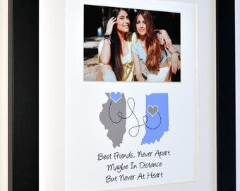 Best friends, childhood girlfriends going away two state maps never apart quote photo gifts personalized present gray and blue  ANY colors