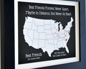 Long distance relationship, personalized best friend gift, long distance best friend gift, moving away, gift for friend, long distance love