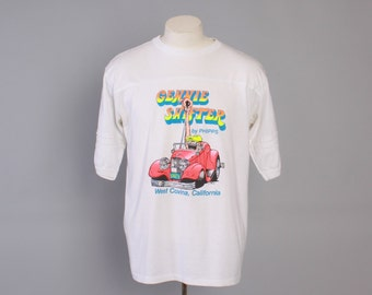Vintage 80s HOT ROD T-SHIRT / 1980s Gennie Shifter Phipps Jersey Style rat Rod Kustom Tee Shirt