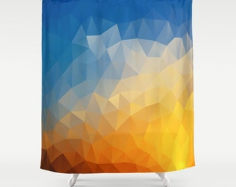Geometric Shower Curtain Sunset Art Curtain Triangles Abstract Curtain Mosaic Pattern Curtain Polygon Flowers Geometric Curtain 60x72 inch