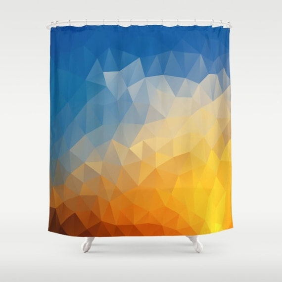 Geometric Shower Curtain Sunset Art Curtain Triangles Abstract