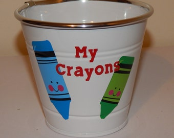 Small Metal Bucket - My Crayons