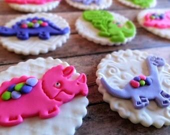 12 Fondant edible cupcake/cookie toppers - fondant dinosaurs, dino party, trex, brontosaurus, dinosaurs cupcake toppers, fondant toppers