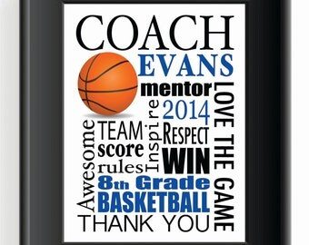 COACH GIFT for any sport - 8x10 Print - Custom High School Coach - Middle School- College - Other colors and sports available